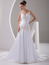 White Rococo Sweetheart Mermaid Trumpet Beading Satin Wedding Dress