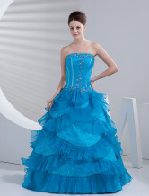 Blue Satin Organza Beautiful Women Prom Dress