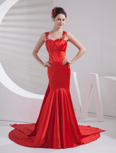Elegant Red Mermaid Trumpet Empire Waist Evening Dress