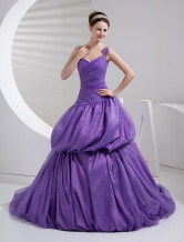 Romantic Lilac Taffeta One Shoulder A-line Sweep Ball Gown