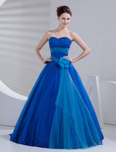 Royal Blue Net Floor Length Princess Prom Dress