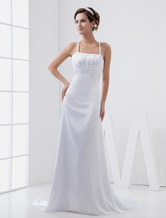 A-line Spaghetti Empire Waist Beading Elastic Woven Satin Pongee Wedding Dress