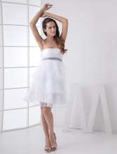 Beautiful Strapless Ruffles Organza Mini Wedding Dress