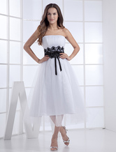 Pretty Strapless Organza Satin Mini Wedding Dress