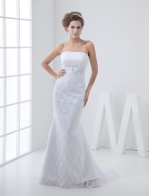Slim White Scalloped Strapless Lace Sweep Bridal Beach Wedding Dresses