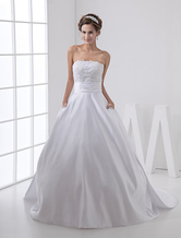 White Fantastic Satin A-line Strapless Wedding Dress