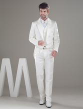Attractive White Lapel Double Breasted Button Worsted Groom Wedding Tuxedo