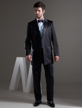 Full Length Black Single Breasted Button Lapel Worsted Groom Wedding Tuxedo