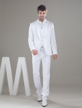 Bello bianco monopetto Button Worsted Groom Wedding Tuxedo