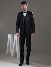 Notched Lapel Worsted Single Button Groom Wedding Suit