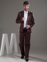 Popular Brown Single Breasted Button Lapel Worsted Groom Wedding Tuxedo