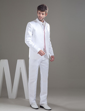 Special White Single Breasted Button Worsted Groom Wedding Tuxedo
