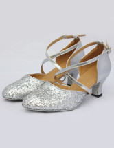 Stylish Silver PU Cowhide 2 3/4'' High Heel Womens Latin Shoes
