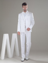 White Three Buttons Worsted Men's Wedding Suit