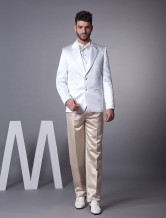 Attractive White Single Breasted Button Lapel Worsted Groom Wedding Tuxedo