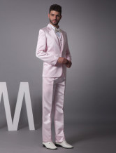 Pink Single Breasted Button Worsted Groom Wedding Tuxedo