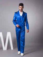 Handsome Blue Satin Single Breasted Button Tuxedo