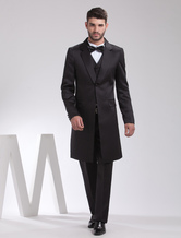 Traditional Black Single Breasted Button Worsted Groom Wedding Wear