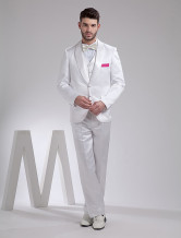 White Handsome Satin Groom Wedding Tuxedo