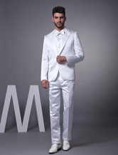 White Single Breasted Worsted Groom Tuxedo