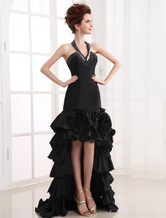 Slim Black Halter Splitting Handmade Flower Taffeta Evening Dress