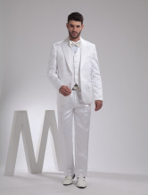 White Single Breasted Button Lapel Worsted Groom Wedding Tuxedo