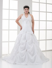 A-line White Halter Embroidery Taffeta Plus Size Wedding Dress