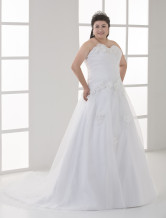 Ivory A-line Strapless Sweetheart Tulle Plus Size Wedding Dress