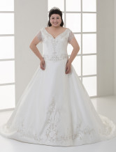 Ivory Plus Size A-line Short Sleeves Embroidery Beading Satin Wedding Dress