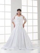 Ivory Spaghetti Pleated A-line Satin Plus Size Wedding Dress