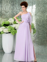 Lilac Chiffon One Shoulder Floor Length Flower Decoration Prom Dress