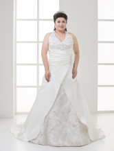 Plus Size Ivory Halter V-Neck Beaded Satin Lace Wedding Dress