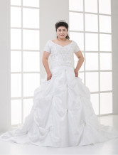 Plus Size Sweetheart Beading Taffeta Wedding Dress