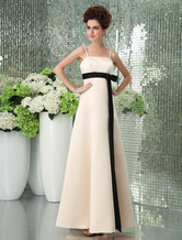 Romantic Spaghetti Sash Floor Length Satin Bridesmaid Dress