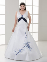 White Sleeveless V Neck Embroidery Plus Size Sash Wedding Dress