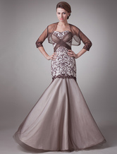 Wonderful Brown Satin Sweetheart Mermaid Trumpet Mother of The Bride Dress