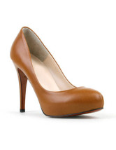 Quality 4 1/10'' High Heel Brown PU Fashion Shoes