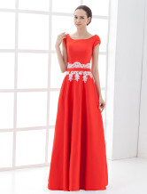 Attractive Short Sleeves Red Floor Length Satin Mother Of Groom And Bride Dress