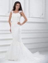 Attractive Sweep Cap Sleeves Mermaid Trumpet Satin Organza Wedding Gown