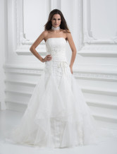 Beautiful Ivory Net A-line Wedding Dress