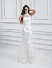 Elegant White Net Strapless Mermaid Trumpet Column Wedding Dress