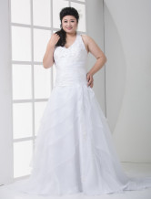 Sexy White A-line Halter V-Neck Tulle Plus Size Wedding Dress
