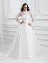 White Classical Satin A-line Wedding Dress