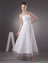 A-line Strapless Applique Beading Lace Satin Pongee Mini Wedding Dress
