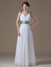 Attractive Ivory Chiffon Deep V-neck Maternity Bridesmaid Dress