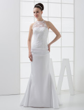 Elegant Mermaid Trumpet Beading Satin Lace Wedding Dress