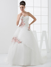 Euro Style Ball Gown Sweetheart Embroidery Beading Satin Wedding Dress