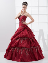 Gorgeous Burgundy Strapless Beading Taffeta Ball Gown