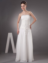 Ivory Chiffon A-line Sweep Strapless  Beautiful Wedding Dress