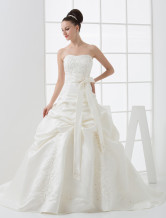 Ivory Strapless Ball Gown Sash Satin Wedding Gown